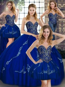 Eye-catching Sweetheart Sleeveless Lace Up Quince Ball Gowns Royal Blue Tulle