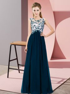 Scoop Sleeveless Zipper Quinceanera Court Dresses Navy Blue Chiffon