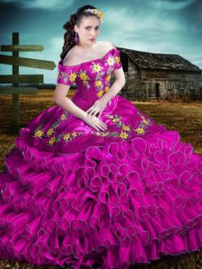 Fuchsia Sleeveless Organza Lace Up Quinceanera Dresses for Sweet 16 and Quinceanera