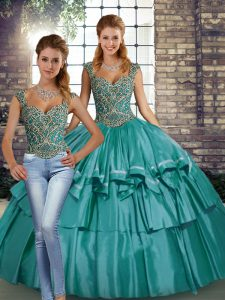Sleeveless Floor Length Beading and Ruffled Layers Lace Up Vestidos de Quinceanera with Teal