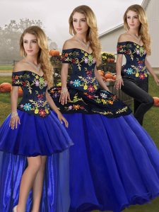 Off The Shoulder Sleeveless Sweet 16 Dress Floor Length Embroidery Royal Blue Tulle