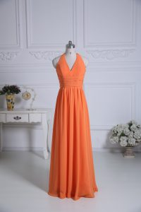 Dynamic Floor Length Orange Vestidos de Damas Chiffon Sleeveless Ruching