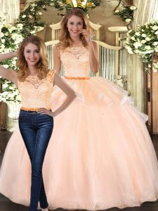 Two Pieces Vestidos de Quinceanera Peach Scoop Organza Sleeveless Floor Length Zipper