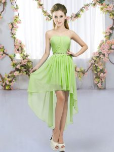 Yellow Green Empire Beading Damas Dress Lace Up Chiffon Sleeveless High Low