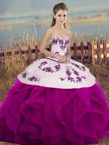 Fuchsia Ball Gowns Tulle Sweetheart Sleeveless Embroidery and Ruffles and Bowknot Floor Length Lace Up Quinceanera Gowns