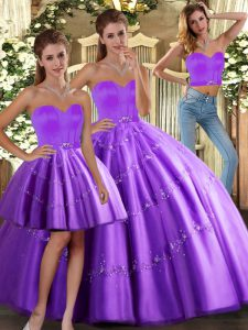 Ball Gowns Vestidos de Quinceanera Purple Sweetheart Tulle Sleeveless Floor Length Lace Up