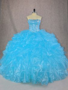 Admirable Blue Sleeveless Organza Lace Up 15 Quinceanera Dress for Sweet 16 and Quinceanera