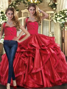 Discount Ball Gowns Quinceanera Gown Red Halter Top Organza Sleeveless Floor Length Lace Up