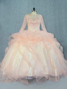 Pretty Long Sleeves Beading and Ruffles Lace Up 15th Birthday Dress