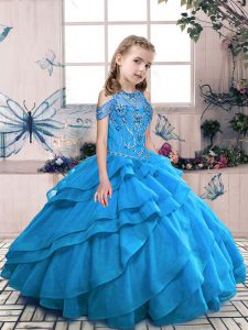 Fashion Beading and Ruffles Kids Formal Wear Aqua Blue Lace Up Sleeveless Floor Length