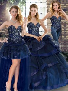 Perfect Navy Blue Lace Up Quinceanera Gowns Beading and Ruffles Sleeveless Floor Length