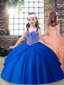 Royal Blue Straps Lace Up Beading Little Girls Pageant Dress Wholesale Sleeveless