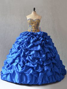 Blue Sweetheart Neckline Beading and Pick Ups Quinceanera Gowns Sleeveless Lace Up