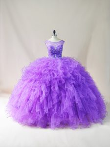 Clearance Purple Lace Up Party Dress for Toddlers Beading and Ruffles Sleeveless Floor Length