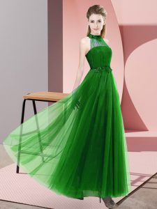 Gorgeous Floor Length Empire Sleeveless Green Quinceanera Court Dresses Lace Up