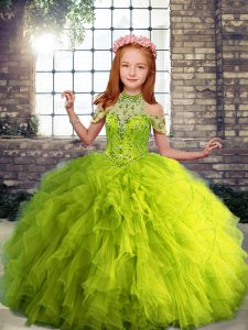 New Style Floor Length Yellow Green Girls Pageant Dresses High-neck Sleeveless Lace Up
