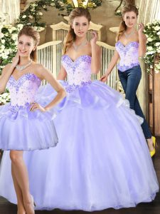 Delicate Lavender Sleeveless Organza Lace Up Quinceanera Dress for Sweet 16 and Quinceanera