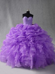 Stunning Floor Length Lavender Quinceanera Gowns Sweetheart Sleeveless Lace Up