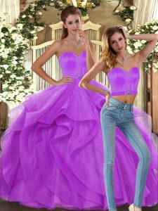 Customized Lilac Tulle Lace Up Sweetheart Sleeveless Floor Length Quince Ball Gowns Ruffles