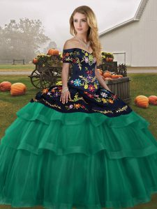 Green Sleeveless Tulle Brush Train Lace Up Quinceanera Gowns for Military Ball and Sweet 16 and Quinceanera