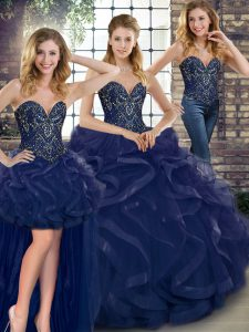 Floor Length Lace Up 15 Quinceanera Dress Navy Blue for Military Ball and Sweet 16 and Quinceanera with Beading and Ruffles
