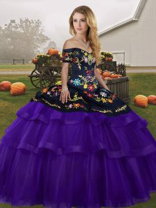 Black And Purple Sweet 16 Quinceanera Dress Tulle Brush Train Sleeveless Embroidery and Ruffled Layers