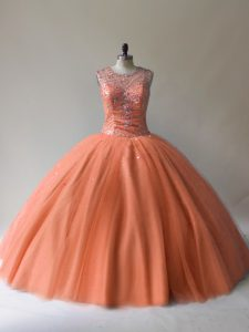 Fantastic Orange Ball Gowns Scoop Sleeveless Tulle Floor Length Lace Up Beading Vestidos de Quinceanera