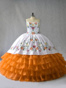Floor Length Orange 15 Quinceanera Dress Sweetheart Sleeveless Lace Up