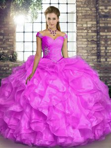 Most Popular Off The Shoulder Sleeveless Organza Quinceanera Dress Beading and Ruffles Lace Up
