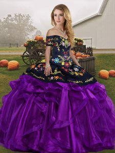 Black And Purple Organza Lace Up Quinceanera Dress Sleeveless Floor Length Embroidery and Ruffles