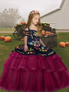 Custom Design Fuchsia Ball Gowns Embroidery and Ruffled Layers Kids Formal Wear Lace Up Tulle Sleeveless Floor Length