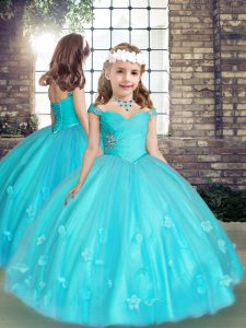 Aqua Blue Sleeveless Beading and Hand Made Flower Floor Length High School Pageant Dress