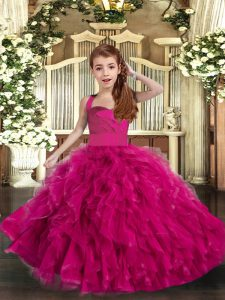 Sleeveless Lace Up Floor Length Ruffles Pageant Dress