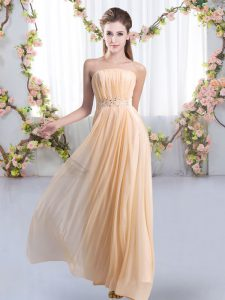 Most Popular Peach Sleeveless Sweep Train Beading Court Dresses for Sweet 16