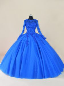 Fantastic Royal Blue Long Sleeves Floor Length Lace and Appliques Zipper Quinceanera Dresses