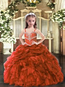 Fantastic Floor Length Rust Red Little Girls Pageant Gowns Organza Sleeveless Beading and Ruffles