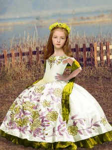 Luxurious White Satin Lace Up Off The Shoulder Sleeveless Floor Length Kids Formal Wear Embroidery