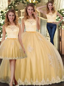 Deluxe Gold Scoop Clasp Handle Lace and Appliques Quinceanera Gown Sleeveless