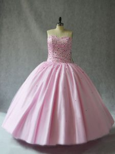 Luxurious Sleeveless Floor Length Beading Lace Up Quinceanera Dress with Pink