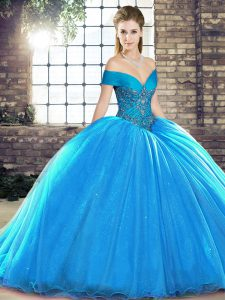 Blue Lace Up Off The Shoulder Beading Party Dress for Girls Organza Sleeveless Brush Train