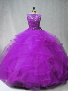 Sleeveless Brush Train Lace Up Beading and Ruffles 15 Quinceanera Dress