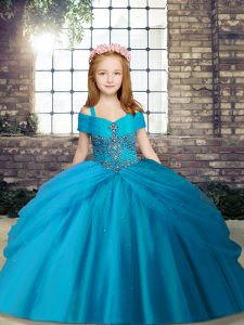 Perfect Baby Blue Tulle Lace Up Little Girls Pageant Dress Wholesale Sleeveless Floor Length Beading