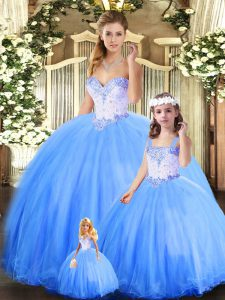 Edgy Blue Sweetheart Lace Up Beading Vestidos de Quinceanera Sleeveless