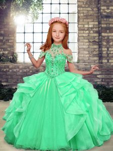Top Selling Apple Green Winning Pageant Gowns Party and Wedding Party with Beading and Ruffles Scoop Sleeveless Lace Up