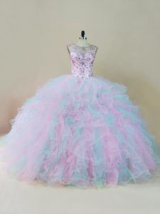 Beading and Ruffles Quince Ball Gowns Multi-color Lace Up Sleeveless Floor Length