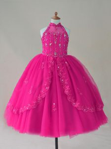 Fuchsia Little Girl Pageant Dress Wedding Party with Beading and Appliques High-neck Sleeveless Lace Up