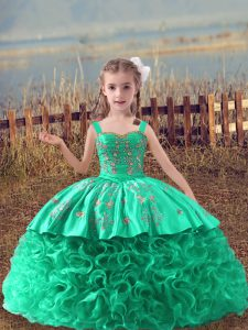 Custom Made Turquoise Ball Gowns Fabric With Rolling Flowers Straps Sleeveless Embroidery Lace Up Little Girls Pageant Dress Wholesale Sweep Train
