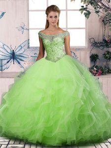 Floor Length Quinceanera Dress Off The Shoulder Sleeveless Lace Up