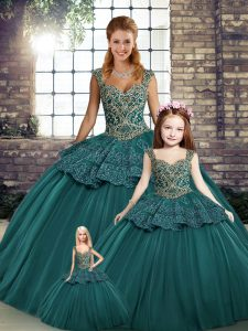 New Style Tulle Sleeveless Floor Length Ball Gown Prom Dress and Beading and Appliques
