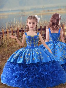 Nice Blue Kids Formal Wear Wedding Party with Embroidery Straps Sleeveless Sweep Train Lace Up